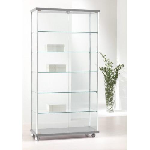 Vetrina per esposizione con ante battenti e piani interni in vetro cm.  93x39x183h