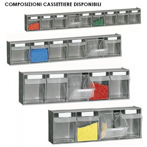 Cassettiere In Plastica Per Armadi.Scaffalatura Practibox A Muro In Polipropilene Con Cassetti Estraibili Cm 60x15x32 8h