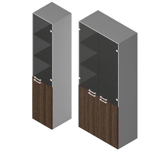 Mobile contenitore da ufficio con ante in vetro fumè e in legno con  serratura cm. 45/90x45x213h