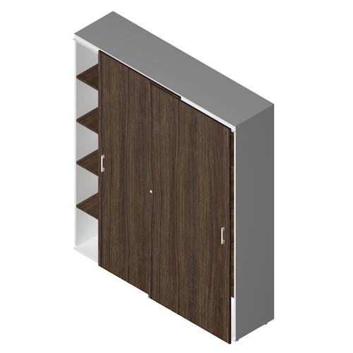 Armadio a muro da ufficio operativo in legno con ante scorrevoli cm.  180x50,5x213h