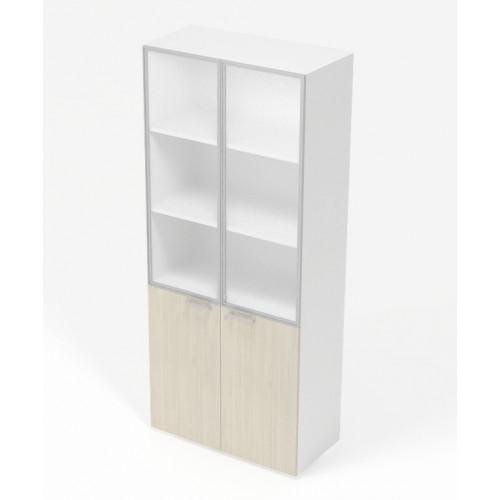 Libreria Con Ante Di Vetro.Libreria Da Ufficio Con Doppia Anta E Piani Interni In Melaminico Cm 45 90x45x213h