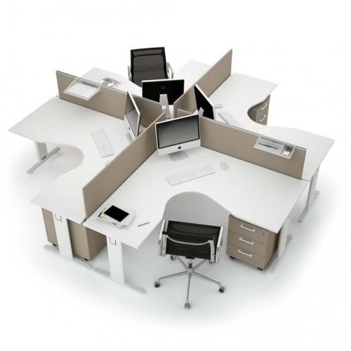 Composizione ufficio 4 postazioni gambe a t castellani shop for Scrivanie operative ufficio