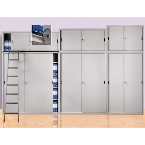 Armadio in metallo a piani interni con ante scorrevoli cm. 120x37x200H