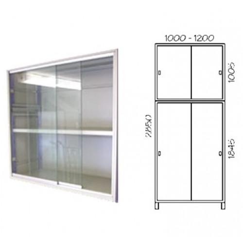 Porta scorrevole in vetro con telaio verniciato per fronte scaffalatura cm.  100x285h
