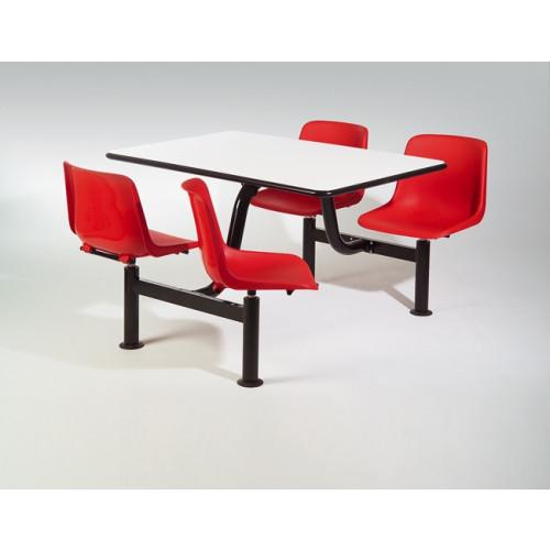 Tavolo da sala mensa con telaio in tubo di acciaio e quattro sedute in  polipropilene cm. 120x120h