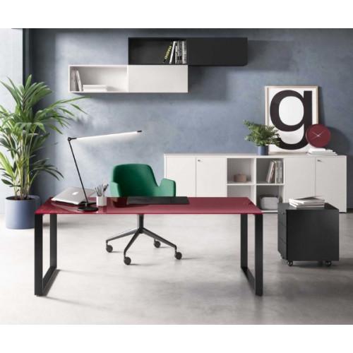 Piano Vetro Scrivania.Scrivania Per Ufficio Direzionale Con Piano In Vetro E Struttura In Metallo Cm 180 200x90x73h