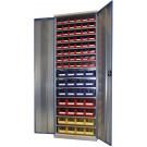 Armadio metallico con contenitori per minuteria cm. 100x27,5x195h