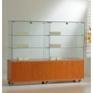 Vetrina espositiva con mobile basso in legno colorato cm. 157x40x130h