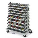 Scaffalale su ruote con 138 cassetti in plastica practibox cm. 123x61,3x143h
