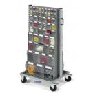 Scaffale per minuterie su ruote con 106 cassetti in plastica practibox cm. 72,5x61,3x143h