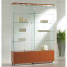 Vetrina per esposizione dotata di faretti e mobiletto basso in legno cm. 157x40x220h