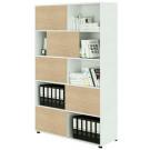 Mobile libreria alta ad ante scorrevoli in legno per ufficio cm. 120x35x190,6h