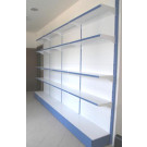 Scaffalatura da negozio in metallo verniciato con piani a mensole cm. 45x40x250h