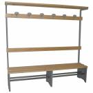 Panca spogliatoio metallico e legno naturale con appendiabiti cm. 200
