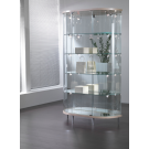 Vetrina per negozi di forma semi-ovale e faretti LED cm. 112x38x190h