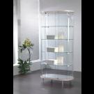 Vetrina da negozio ovale con cristalli temperati e faretti LED cm. 96x56x190h
