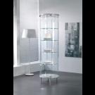 Vetrina esposizione rotonda con piani regolabili e faretti a LED cm. 70x70x190h