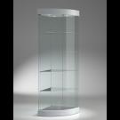 Vetrina di forma angolare con plafoniera superiore con faretti cm. 58x58x190h