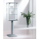 Vetrina per negozi con piantana in metallo e due piani interni regolabili cm. 45x45x157h