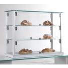Vetrina espositiva da bar per brioches con profili in alluminio e piani interni regolabili cm. 65x25x50h
