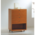 Banco vendita in vetro e legno con 4 cassetti per negozi cm. 62x40x90h
