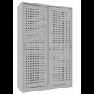 Armadio archivio documenti con struttura metallica e ante forate scorrevoli cm. 150x45x200H