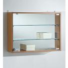 Bacheca a muro in vetro con schienale a specchio o legno cm. 59x15x44h