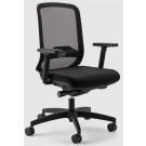Poltrona operativa ignifuga per ufficio con braccioli e schienale in rete colore nero