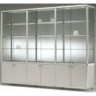 Vetrina con mobile e ripiani regolabili da negozio abbigliamento cm. 231x42,5x184,5h