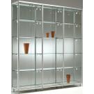 Vetrina con ripiani regolabili e top in cristallo da negozio cm. 195x42,5x184,5h
