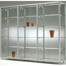Vetrina con telaio in alluminio anodizzato e ripiani regolabili da gioielleria cm. 291x42,5x184,5h