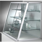 Vetrina da appoggio con telaio in alluminio e ripiani interni regolabili cm. 132x50x100h