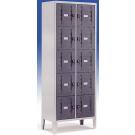 Armadio casellario metallico a 10 vani con ante antiurto in abs monoblocco cm. 70x35x180h