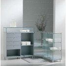 Banco vendita per negozi in legno e vetro per esposizione prodotti in vendita cm. 187x148x40x90h