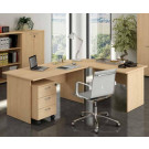 Postazione lavoro con scrivanie e cassettiera per ufficio cm. 240x220x72h