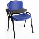 Sedia in plastica su gambe fisse per sala attesa con bracciolo e tavoletta