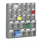Scaffale a parete con struttura e cassetti in plastica cm. 60x15x66,4h