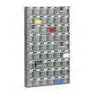 Scaffalatura di plastica practibox con cassetti di varie dimensioni cm. 60x10,7x100,8h