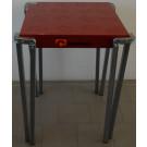 Tavolo in metallo con piano Verniciato rosso per negozio cm. 60x60x75h