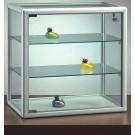 Vetrina bassa con 2 ripiani regolabili in cristallo da negozio cm. 51,5x25x51,5h