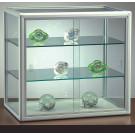 Vetrina bassa con 2 ripiani regolabili in cristallo per negozio cm. 65x25x55h