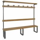 Panca da spogliatoio in metallo e legno di cm. 200 per 6 persone con appendiabiti incluso