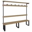 Panca per arredamento spogliatoio a 6 posti di cm. 200 in metallo e legno naturale