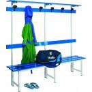 Panca con schienale e appendiabiti con doghe in alluminio verniciato di cm. 100 a 3 posti