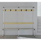 Panca spogliatoio colorata con schienale e portaborse in alluminio anodizzato a 6 posti cm. 200x41x187h