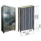 Porta scorrevole in lamiera zincata per fronte scaffalatura cm. 120x184,5h