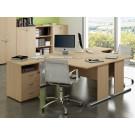 Postazione lavoro con scrivanie in melaminico verniciato e cassettiere cm. 160x246x72h