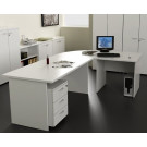 Postazione lavoro in melaminico con scrivanie e cassettiera cm. 220x220x72h