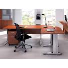 Scrivania angolare operativa per ufficio con cassettiera cm. 240x160x72h