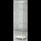 Vetrina da esposizione con faretti a led e piedi fissi di cm. 45x45x190h
